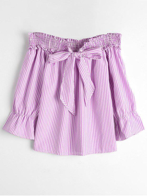 outfits Self Tie Bowknot Striped Blouse - PINK STRIPE L