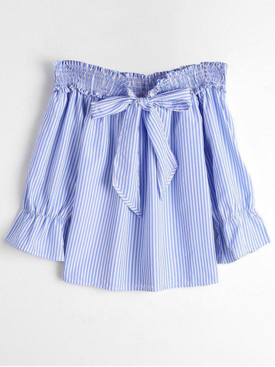 online Self Tie Bowknot Striped Blouse - BLUE STRIPE XL