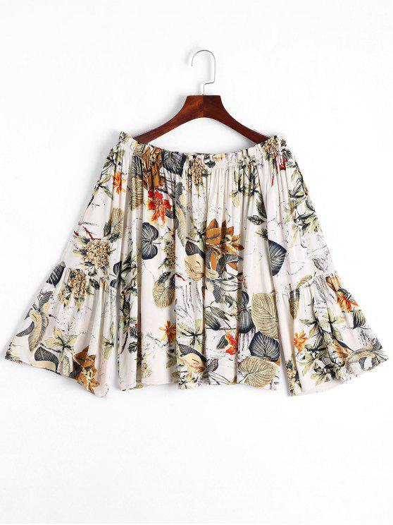 sale Leaves Print Flare Sleeve Blouse - MULTI XL