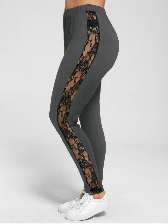 fashion Plus Size Lace Insert Sheer Leggings - DEEP GRAY XL