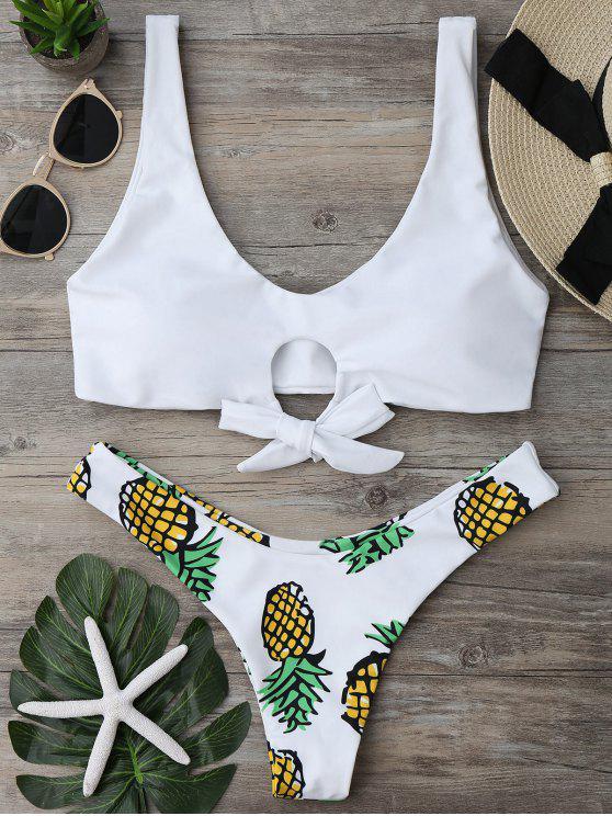 Ensemble de Bikini Culotte Thong à Imprimé d'Ananas - Blanc S