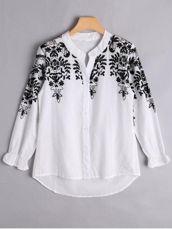 Botón hasta blusa bordada floral - Blanco S