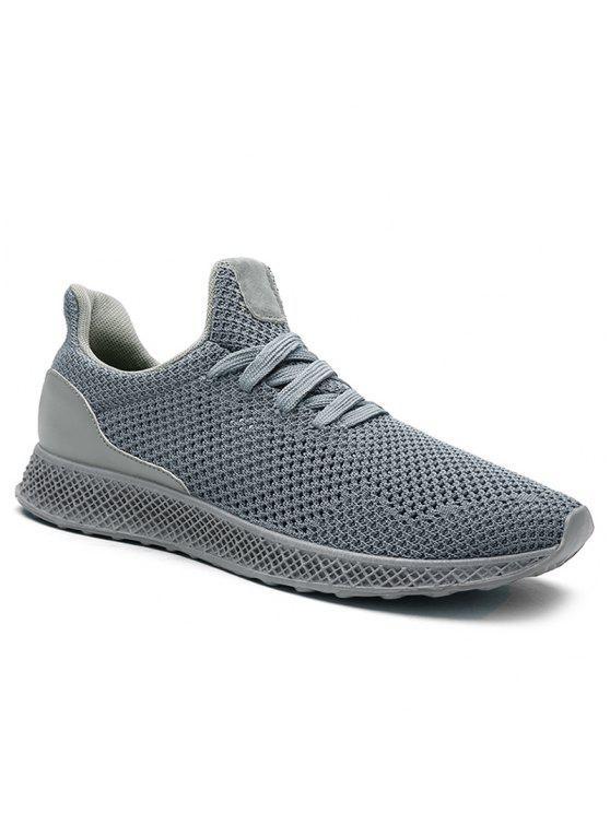 شبكة تنفس الدانتيل يصل أحذية رياضية - رمادي 44
