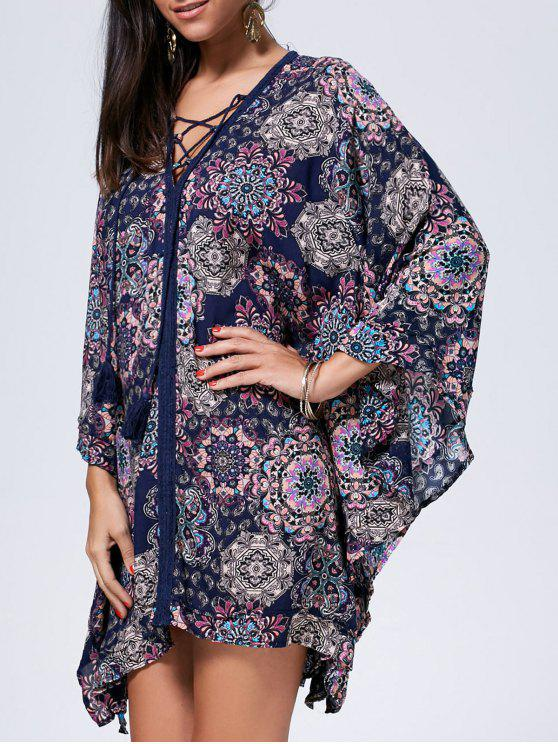 فستان القفطان طباعة رباط - مزيج ملون L