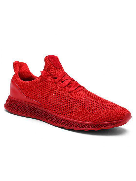 شبكة تنفس الدانتيل يصل أحذية رياضية - أحمر 41