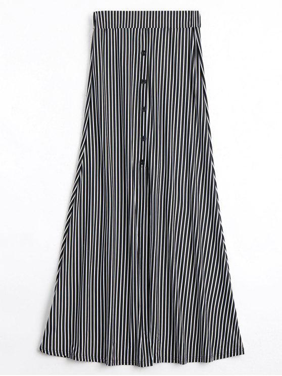 زر مزين تنورة عالية الخصر مخطط - شريط M