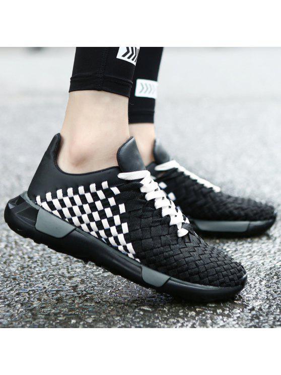نسج تنفس منقوشة نمط عارضة الأحذية - أسود أبيض 41