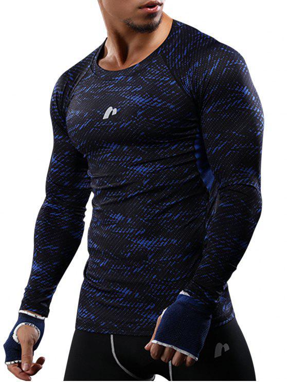 التمويه اللوحة المخرمة سريعة الجافة رياضة تي شيرت - أزرق L