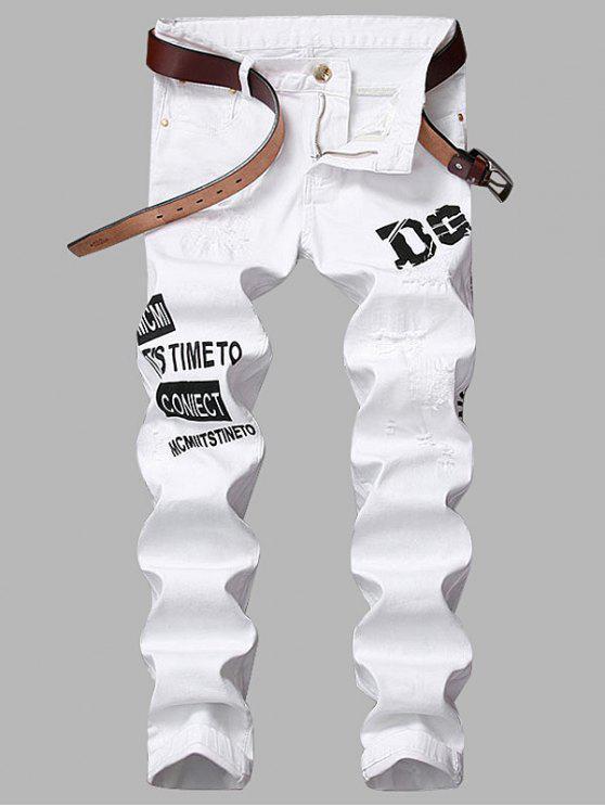جينز سحاب طباعة الجرافيك مستقيم الساق ممزق - أبيض 34