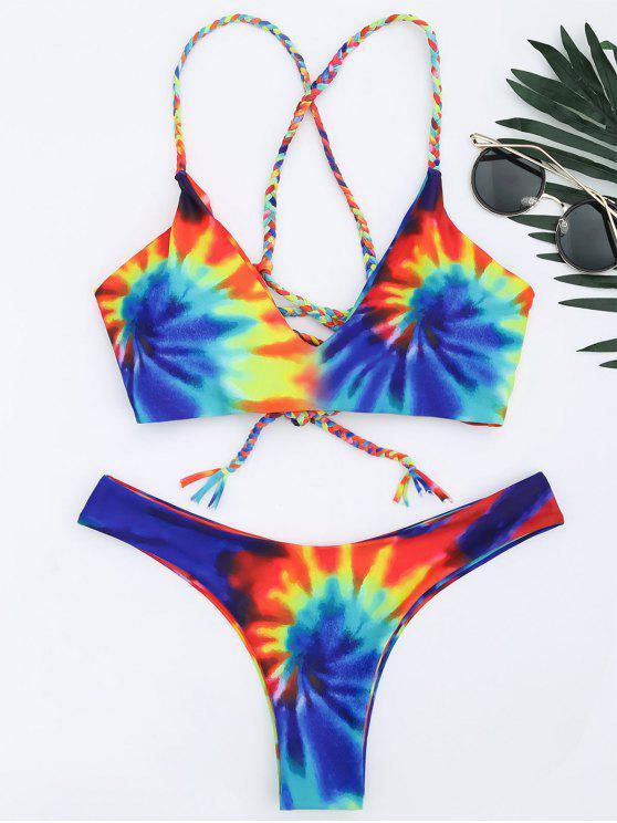 Ensemble Bikini Tie-Dye Entrecroisé Tressé - Bleu XL