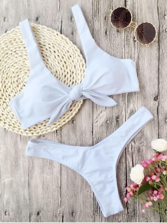 Bikini de Tanga Anudado con Pliegues - Blanco L