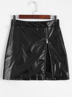 Zip Up Lace Panel Faux Leather Skirt - Black L