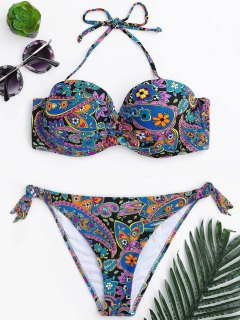 Underwire Paisley Print Fuller Bust Bikini Set - Multicolor S