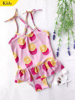 Bow Tie Orange Print Kids One Piece Swimsuit - Pink 6t