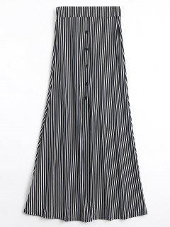 Button Embellished High Waist Striped Skirt - Stripe M