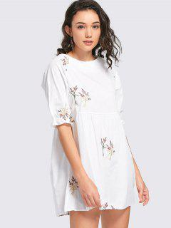 Embroidered Mini Shift Dress - White M