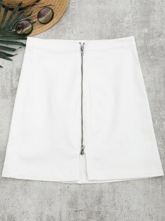Front Slit Zip Up A Line Skirt - White S