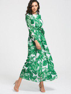 Leaves Print Belted Maxi Dress - Grass Green L