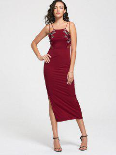 Floral Patched Mesh Panel Slit Cami Dress - Red