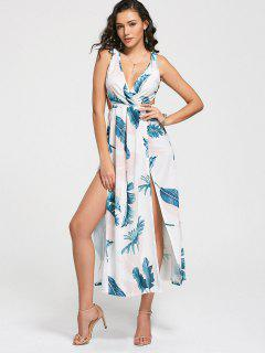 Plunging Neck Leaves Print High Slit Dress - White S
