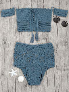 Off Shoulder High Waisted Crochet Bikini - Peacock Blue M