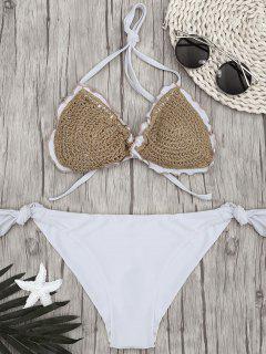 Bikini à Cordes à Crochet à Deux Tons - Blanc S