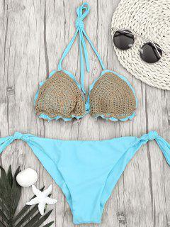 Zwei Tone Tie Side Häkeln String Bikini - Meeresblau S
