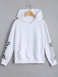 Floral Patched Front Pocket Hoodie - White L