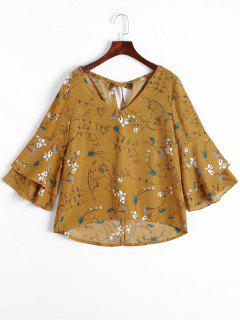 Tiered Flare Sleeve Floral Blouse - Floral L