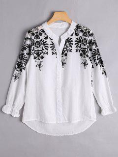 Button Up Floral Embroidered Blouse - White S