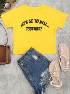 Cotton Cropped Letter Top - Yellow S