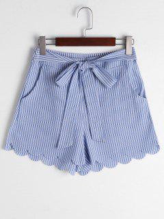 Scalloped Hem Bowknot Striped Shorts - Blue Stripe M