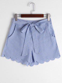 Scalloped Hem Bowknot Striped Shorts - Blue Stripe Xl