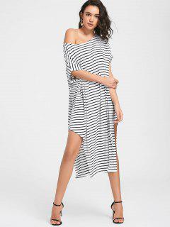 Side Slit One Shoulder Striped Dress - White L