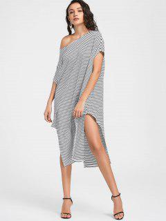 Side Slit Skew Neck Striped Dress - White M