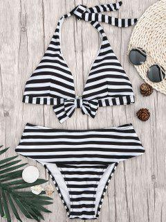 Halter Striped Bikini Top And Bottoms - White And Black S