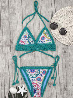 Bralette Muschel Häkel Sommerblumen String Bikini - Grün S