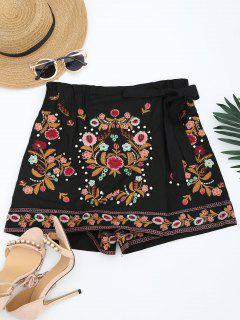 Bowknot Floral Embroidered Culotte Shorts - Black L