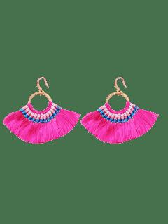 Ethnic Braid Circle Tassel Hook Earrings - Rose Red
