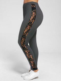 Plus Size Lace Insert Sheer Leggings - Deep Gray 5xl