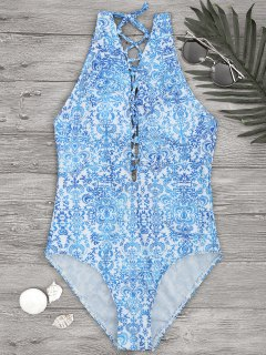 Printed Backless Lace Up One Piece Swimsuit - Blue And White L
