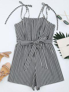 Belted Tied Straps Striped Romper - Gray L