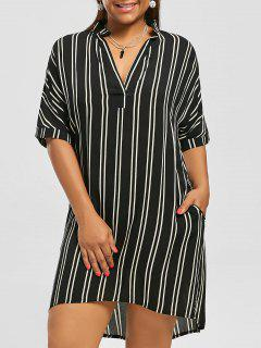 Plus Size High Low Stripe Shirt Dress - Black 4xl