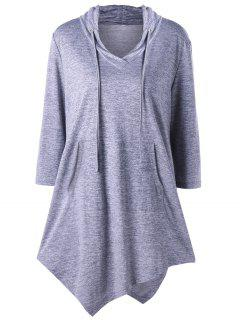 Plus Size Asymmetrical Kangaroo Pocket Drawstring Top - Gray 5xl