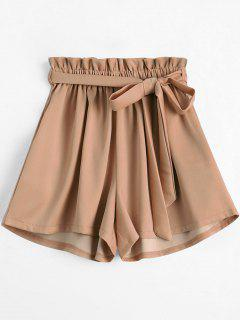 Smocked Belted High Waisted Shorts - Khaki