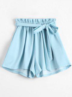 Smocked Belted High Waisted Shorts - Blue