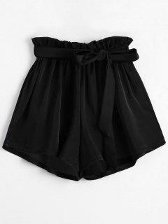 Smocked Belted High Waisted Shorts - Black