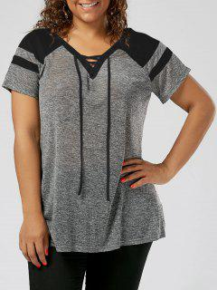 Plus Size Raglan Sleeve Lace Up Top - Black And Grey 3xl