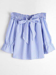 Self Tie Bowknot Striped Blouse - Blue Stripe M