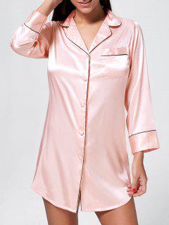 Satin Pajama Shirt Dress - Pink M